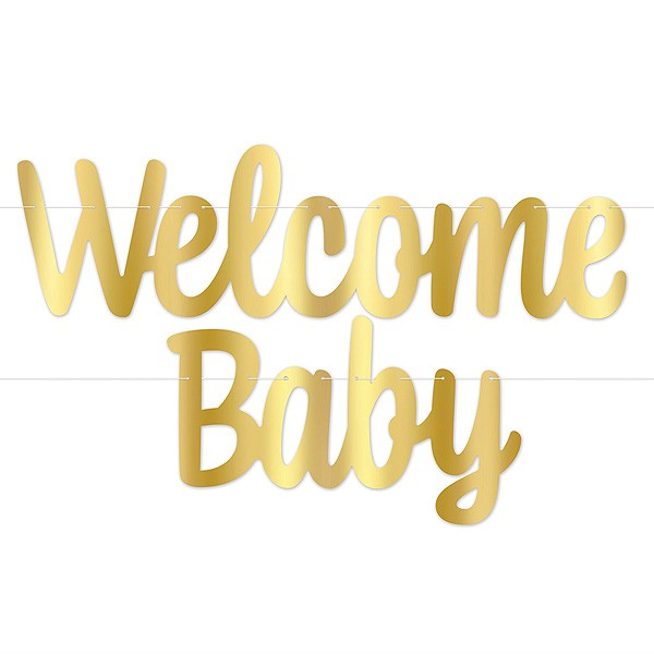 Girlande Welcome Baby gold