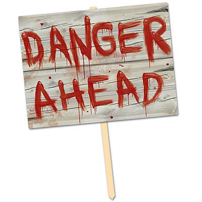 party deko schild danger ahead mottoparty halloween zombie. Black Bedroom Furniture Sets. Home Design Ideas