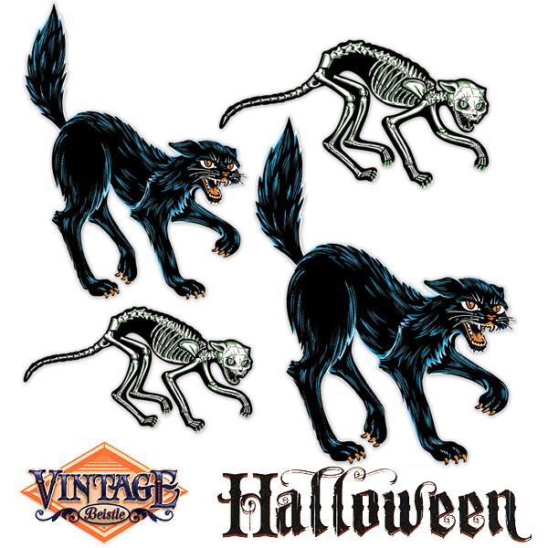 Dekomotive Halloween Katzen & Katzenskelette, 4-tlg.