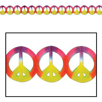 Partydeko Girlande Peace-Zeichen Batik-Design