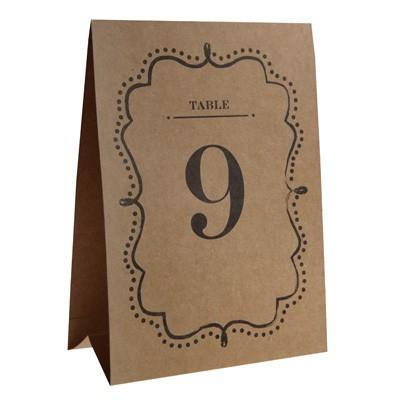 Tischkarten Tischnummern Table 1-10 braun