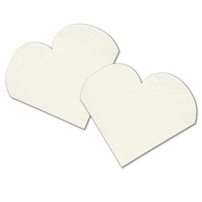 Servietten in Herzform weiß - 10 Stück