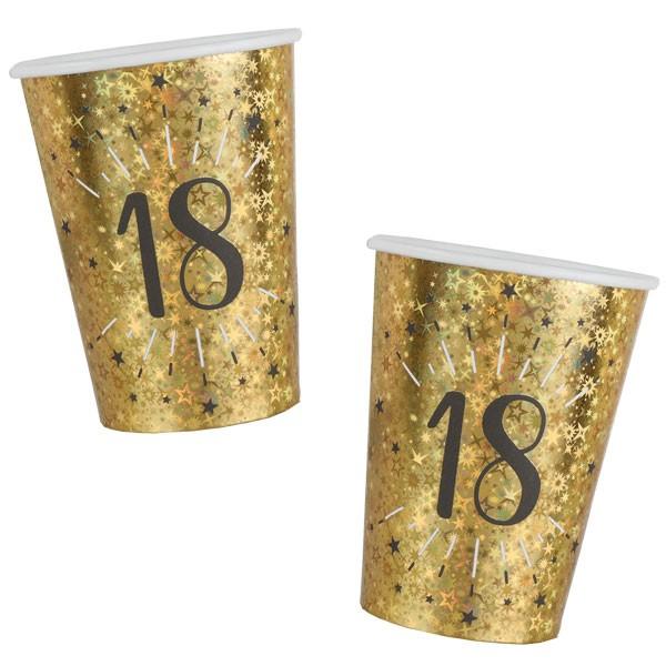 Pappbecher 18 Geburtstag gold schwarz