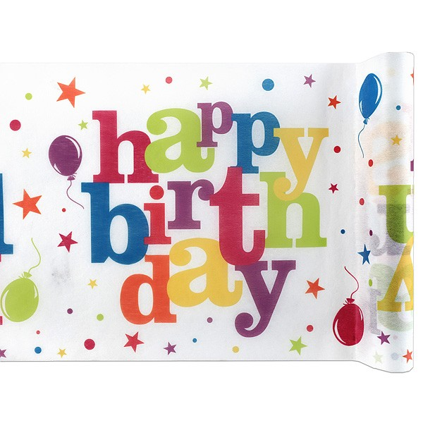 Tischläufer Happy Birthday bunt