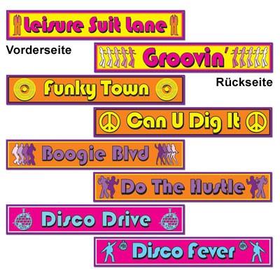 Partydeko Schilder Disco 70er Jahre