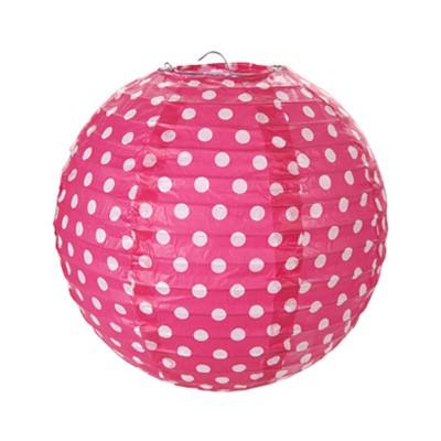 Partydeko Papierlampions Dots pink
