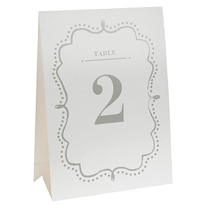 Tischkarten Tischnummern Table 1-10 weiß