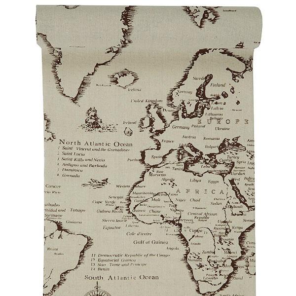 Stoff-Tischläufer Travel mit Landkartenmotiv