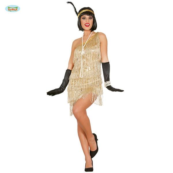 Goldenes Flapper Girl Kleid Gr. M | Karneval & 20er Jahre Mottoparty