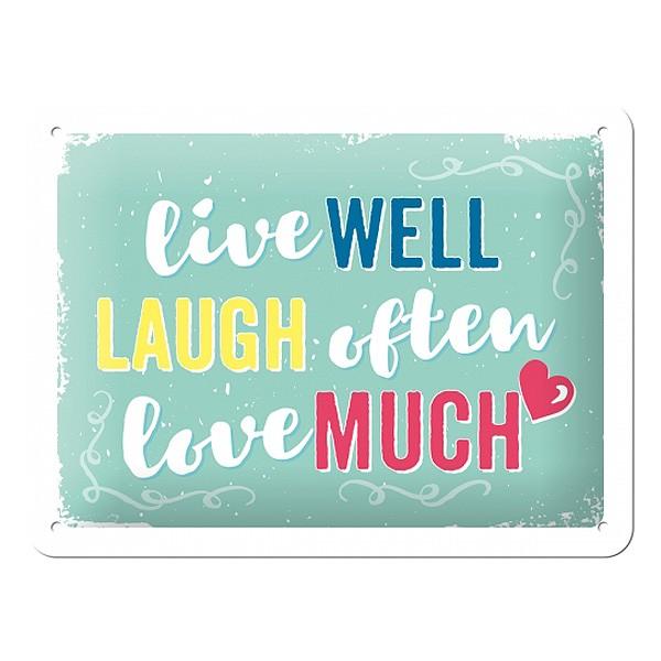 Blechschild Live Laugh Love
