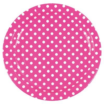 Pappteller Pünktchen Polka dots pink