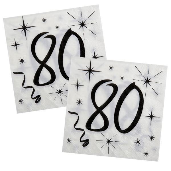 Servietten 80. Geburtstag sw