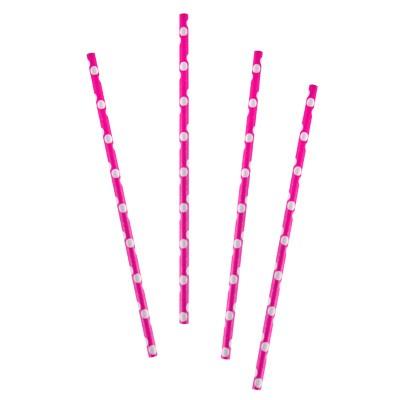 Papier-Trinkhalme pink weiße Punkte
