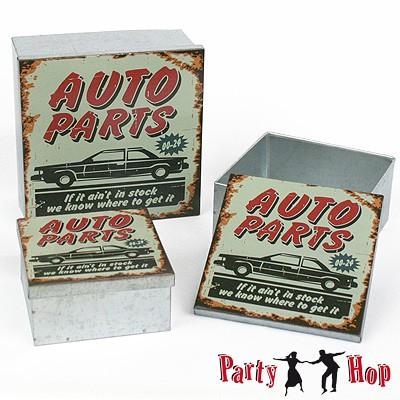 blechdosen 3er set auto parts vintage garage auto oldtimer dekodosen 50er jahre geschenkidee. Black Bedroom Furniture Sets. Home Design Ideas