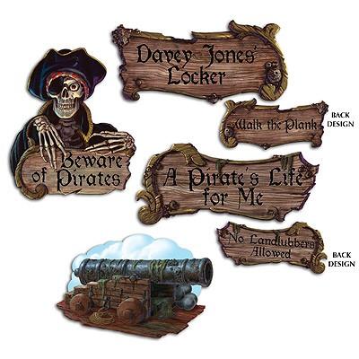 Partydeko-Set Piraten Schilder