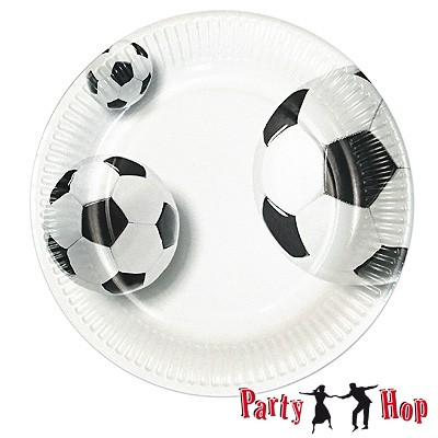 Pappteller Fußball weiß - 10 Stück
