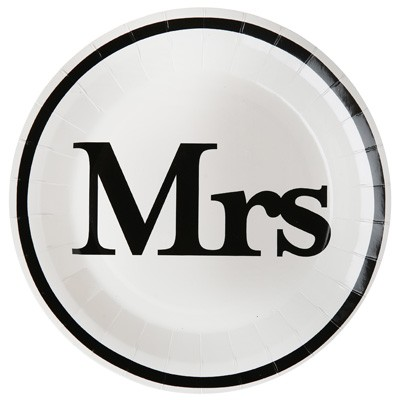 Pappteller Mrs weiß