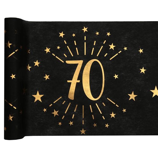 Tischläufer 70 Geburtstag schwarz gold