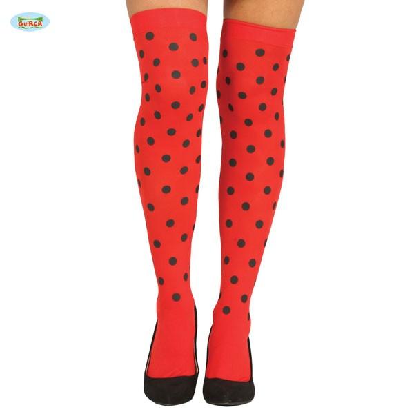 Damenstrümpfe rot mit schwarzen Punkten