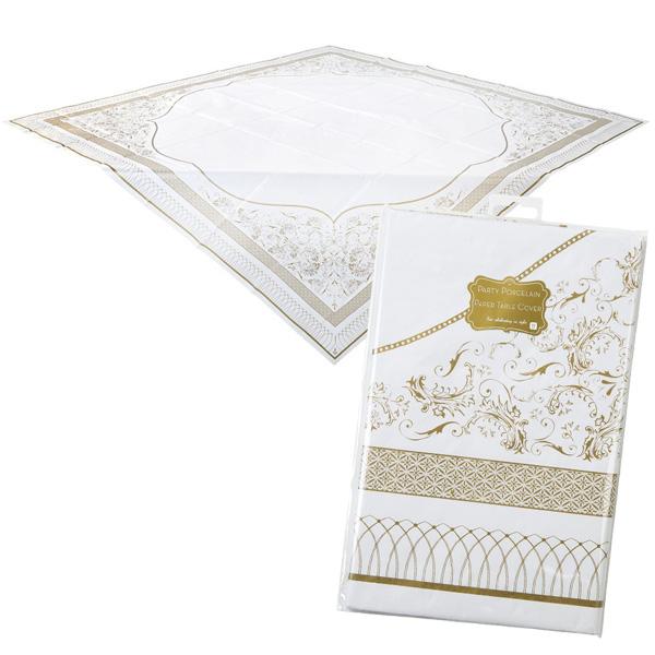Partytischdecke papiertischdecke mit golddekor f r feiern for Mottoparty deko