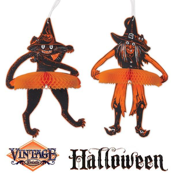 Vintage Halloween Hängefiguren Hexe Katze