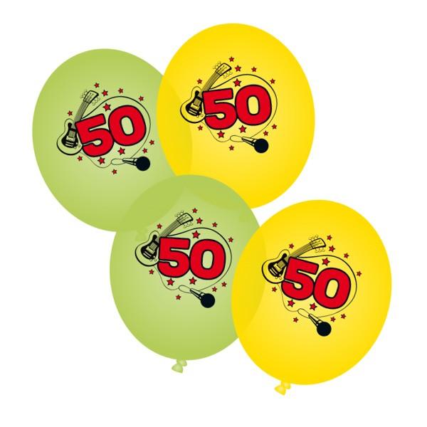 Luftballons 50. Geburtstag grün gelb