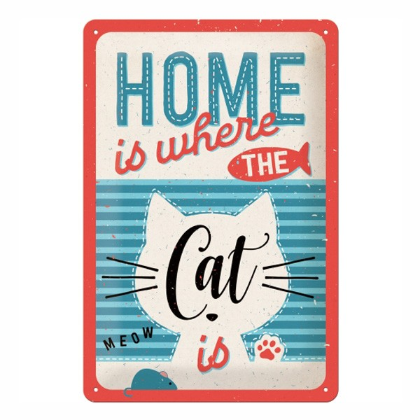 Blechschild Home Cat 20x30cm
