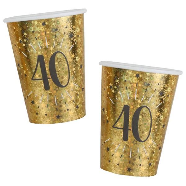 Pappbecher 40 Geburtstag gold schwarz