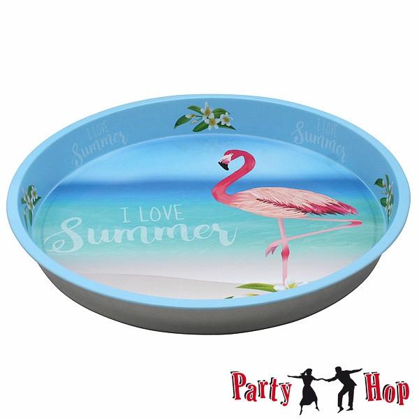 Serviertablett Blech Flamingo Summer