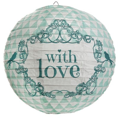 hochzeitsdeko papierlampions with love mint vintage partydeko festsaal romantische h nge. Black Bedroom Furniture Sets. Home Design Ideas