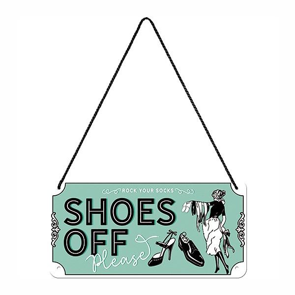 Nostalgie-Blechschild Shoes Off