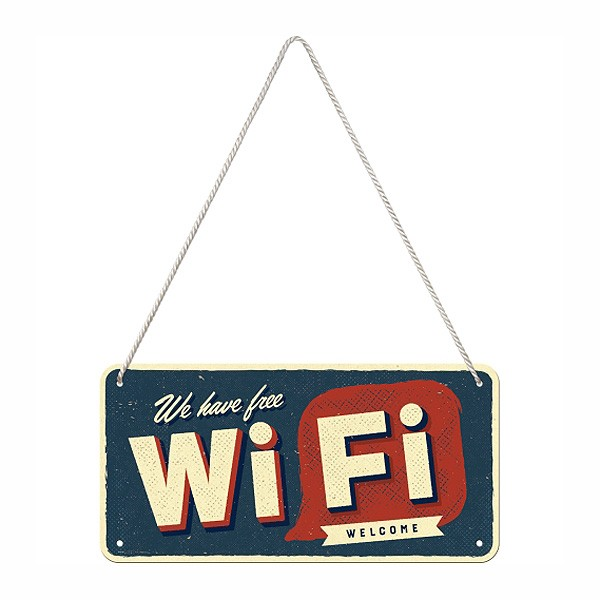 Retro-Hängeschild Free WiFi