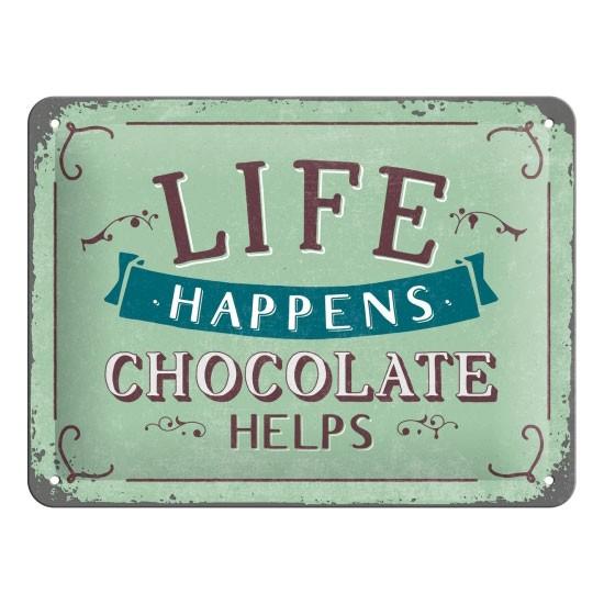 Deko Blechschild Life Happens Chocolate Helps Geschenkidee Witzige