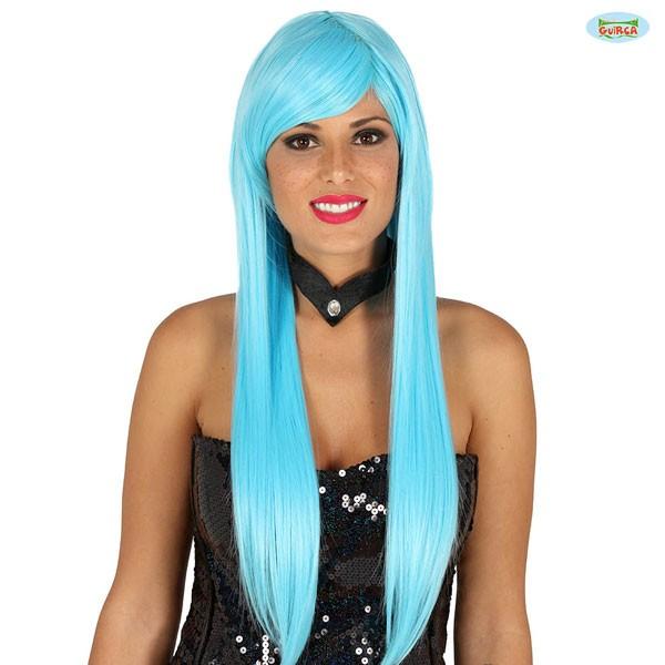 Türkise Damenperücke mit glatten langen Haaren