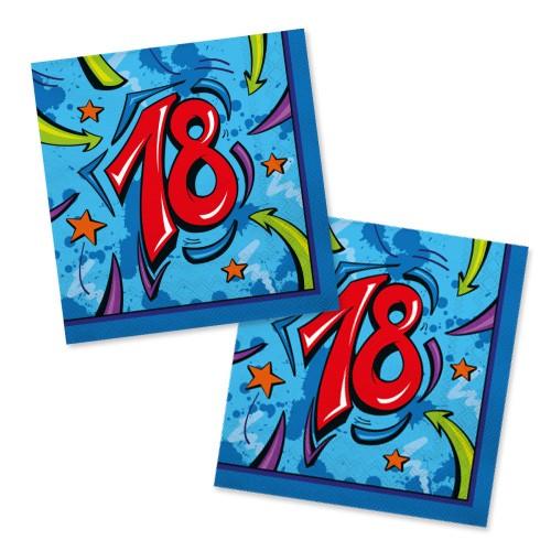 Servietten 18. Geburtstag blau