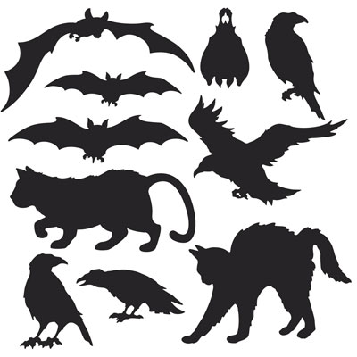 Party Deko Halloween Silhouetten Motto Fledermaus Katze Rabe Horror