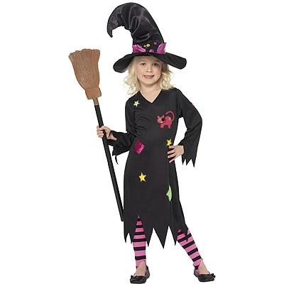 Hexen Kostüm schwarz pink