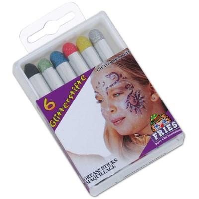 6 Schminkstifte Glitter