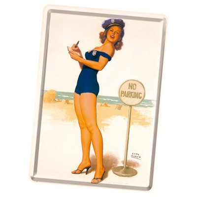 Blechpostkarte Pin-Up No Parking