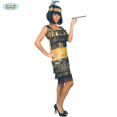 Charleston Flapper Kleid gold-schwarz M-L