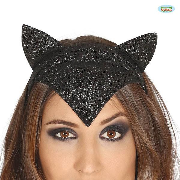 Kostümhaarreif schwarze Katzenohren Glitter