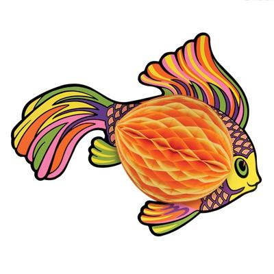 Partydeko Wabenfigur Fisch orange
