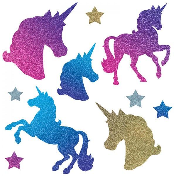Partydeko-Set Glitzer-Einhörner Sterne