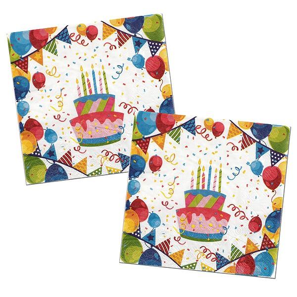Geburtstags Papierservietten bunt