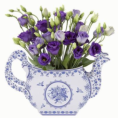 Teekannenvase Pappe blau