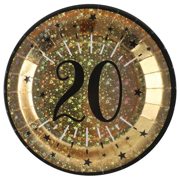 Pappteller 20 Geburtstag gold schwarz
