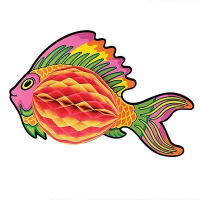 Partydeko Wabenfigur Fisch bunt