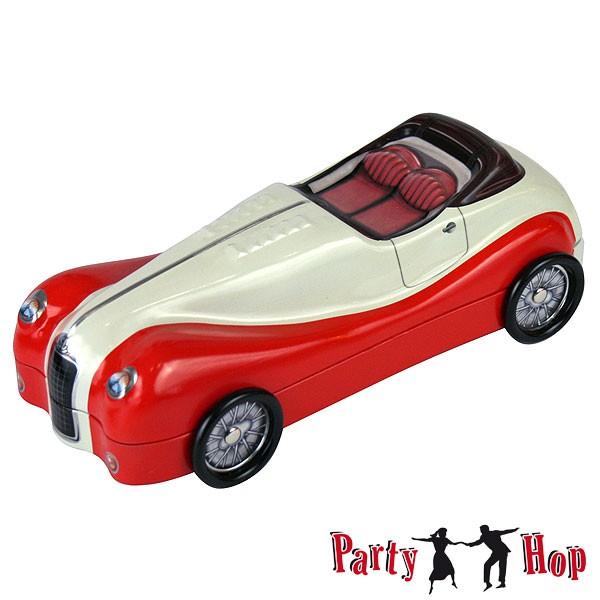 Blechdose Auto Roadster rot-beige