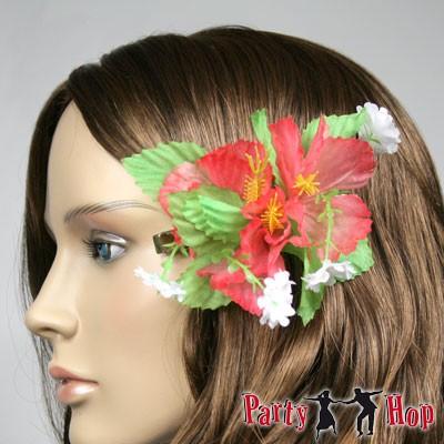 Haarklammer Hibiskus - rot