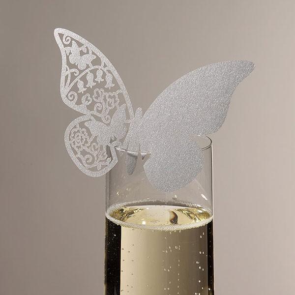 Platzkarten Schmetterling silber